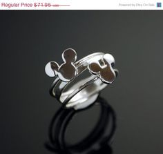 Valentines Day Sale Mickey Mouse Ring - Stacker Ring - Disney Jewelry - Hammered Ring - Argentium Sterling Silver - Handmade on Etsy, $57.56