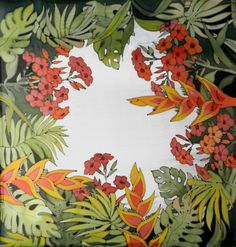 A bright hand painted silk scarf with tropical flowers and green leaves. Natural shiny silk and vivid colors of green and nectarine makes this