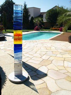 Fusing Glasstele Fusedglass Glassart | Glas Im Garten | Pinterest Pool Mit Glaswand Garten