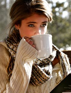 This is everything I love about fall, cozy sweaters, chunky scarves, sipping hot coffee or cider or tea or Taylor Marie Hill, Coffee Girl, Sexy Coffee, Hot Coffee, Coffee Cafe, Coffee Shop, Look Girl, Slice Of Life, Cozy Sweaters