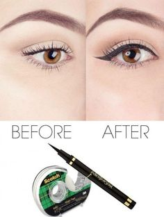 how to do the cat eye makeup with liquid eyeliner and scotch tape. Makeup and beauty helper
