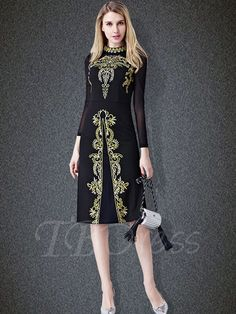 Black Zippered Mesh Patchwork Women's Sheath Dress - m.tbdress.com