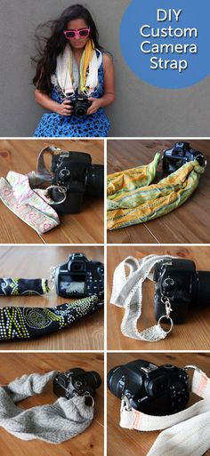 DIY Custom Camera Strap. Each strap took 5 minutes and cost less than 5 bucks! http://www.hellobrit.com/living/diy-chic-custom-camera-strap/
