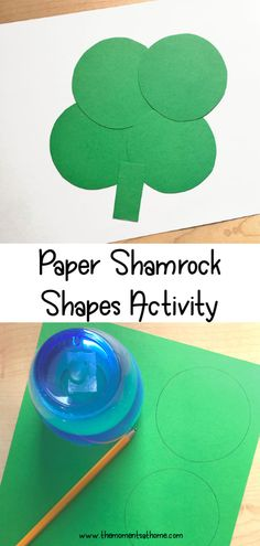 Paper shapes shamrock craft for kids. Use shapes to make shamrock art for St. Patrick's Day and teach shape recognition. Paper craft for kids. Kindergarten Activities, Craft Activities, Preschool Crafts, Toddler Activities, March Crafts, St Patrick's Day Crafts, Paper Crafts For Kids, Holiday Crafts, Easy Crafts