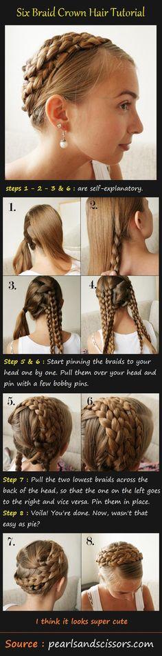 Six Braid Crown Hair Tutorial