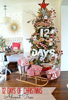 Put a spin on a traditional advent calendar by boldly displaying numbers around a tree on boxes, containers, and packages.