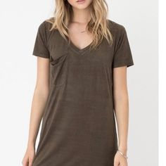 Faux Suede Pocket Dress by Z Supply. $52. Tap image to Shop Now