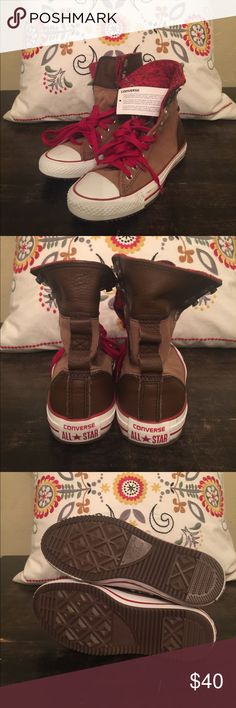 CONVERSE HIGH TOPS ⭐️ Brand new brown high top with leather upper and heel. ⭐️ Inside fabric is red as shown in pics. Laces are also red. These are rare. Purchased at Urban Outfitters. ✔️ converse  Shoes Sneakers