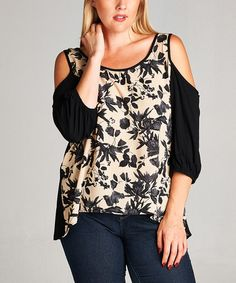Another great find on #zulily! Black & Taupe Floral Cold-Shoulder Top - Plus #zulilyfinds