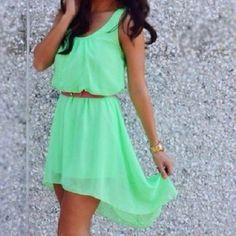 mint green high low dress