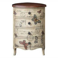 This botanical inspired, uniquely shaped accent chest with its accents of butterfly's and elegant script detailing combined with its contrast walnut finish top makes the perfect focal point to any room.