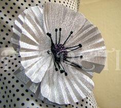 Bridal Silver Silk Poppy Chio Chio San Handmade Floral Wedding Hair Veil Accessory Brooch Pin   Floreti - Accessories on ArtFire - StyleSays