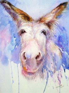 """Daily Paintworks - """"A Happy Day_Donkey"""" - Original Fine Art for Sale - © Arti Chauhan Wildlife Paintings, Animal Paintings, Animal Drawings, Watercolor Artwork, Watercolor Animals, Burritos, Canvas Art, Canvas Prints, Portrait"""