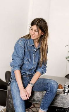 Morgane Bedel, style story, Paris, denim shirt and jeans, vintage / Garance Doré
