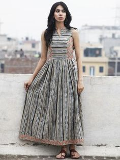 Beige Blue Maroon Black Long Sleeveless Hand Block Printed Cotton Dress With Gathers & Side Pockets - (Indo Western Cotton Top) Cotton Dress Indian, Dress Indian Style, Indian Outfits, Frock Fashion, Fashion Dresses, Stylish Dresses, Kalamkari Dresses, Casual Frocks, Frock Patterns