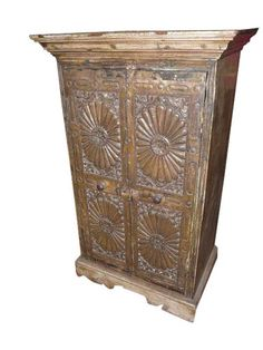 Antique Sundial Hand Carved Teak Chest Cabinet Nightstand available for sale Sundial, Cabinet Furniture, Wood Cabinets, Teak Wood, Jaipur, Armoire, Hand Carved, Carving, Antiques