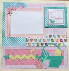 """Two 12""""x12"""" Baby's First Easter pre-made scrapbook pages by Carolsues on Etsy"""