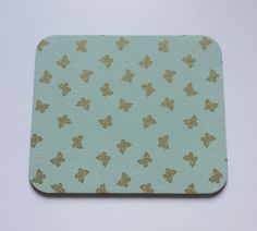 Mousepad in Mint Green with Metallic Gold Butterflies Mouse Pad Shabby Chic - Simply Chic Gal