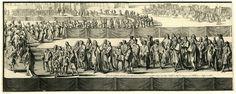 Romeyn de Hooghe | De lijkstatie van de koningin, eerste deel, eerste helft, 1695, Romeyn de Hooghe, Pieter Persoy, Staten van Holland en West-Friesland, 1695 | De lijkstatie van de koningin, linker helft van de eerste plaat. De aankomst van de stoet bij Westminster. Elementen in de prent zijn genummerd 1-14. De prent is als illustratie gebruikt in Samuel Gruterus, Funeralia Mariae II Britanniarum, Haarlem 1695.