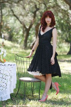 Romantic Black Ruffle Octopus Convertible Wrap Dress