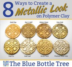Jewelry OFF! Read about these 8 ways to create a metallic look on polymer clay on The Blue Bottle Tree. Polymer Clay Kunst, Polymer Clay Tools, Polymer Clay Miniatures, Polymer Clay Pendant, Fimo Clay, Polymer Clay Projects, Polymer Clay Creations, Polymer Clay Earrings, Polymer Beads