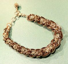 Rose Gold and Sterling Silver Bracelet, Chain Bracelet, Rose gold Bracelet, Sterling Silver Bracelet on Etsy, $55.00