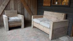 Steigerhouten meubelen op maat. Als getoond een (buiten)set incl. matras kussens , elke maat mogelijk