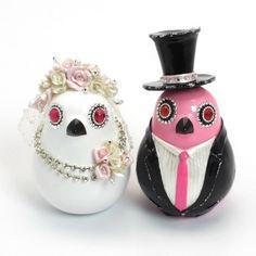 Pink Wedding Couple Birdies Cake Topper Ceramic Paint Decor B00016