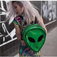 """~*Soft Grunge*~ Alien Backpack """"Out of This World! Soft Grunge, Grunge Hipster, 90s Grunge, Glam Rock, Grunge Fashion, 90s Fashion, Swag Fashion, Gypsy Fashion, Hipster Fashion"""