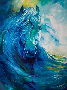 WAVE RUNNER BLUE GHOST EQUINE by M BALDWIN Oil ~ 48 x 36