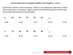 CogAT practice questions for 3rd to 4th grade | Education | Pinterest