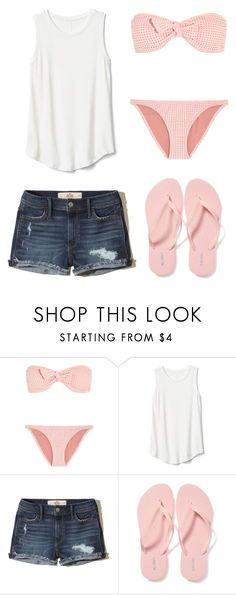 """""""Time to begin summer break"""" by gretchenlover ❤ liked on Polyvore featuring Melissa Odabash, Gap, Hollister Co. and Old Navy"""