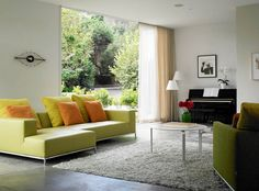 Kaplan Wright House LA - modern - living room - los angeles - by David Churchill - Architectural Photographer Burnt Orange Living Room, Living Room Green, Living Room Sets, Living Room Furniture, Living Room Designs, Modern Window Shades, Home Curtains, Window Curtains, Piano Room