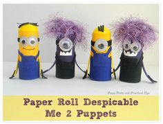 Activity of the Week: Paper Roll Despicable Me 2 Puppets-pinned by @PediaStaff – Please Visit ht.ly/63sNt for all our pediatric therapy pins