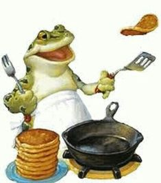 Mr toad is tossing pancakes . Funny Frogs, Cute Frogs, Animals And Pets, Funny Animals, Cute Animals, Frog Pictures, Frog Pics, Frog Illustration, Frog Art