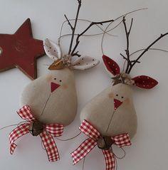 Decorazioni per l'albero: tessuto - Weihnachtsbaumschmuck Moose Cottage - un pezzo di design di Feinerlei su DaWanda