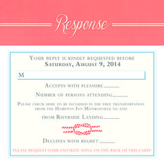 Nautical Wedding Invitations - Response Card. Pocket Folder/Layered Style. Blue and Coral. Designed by info@gkprints.com