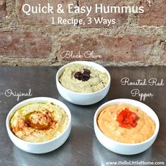 You are going to love this Quick and Easy Hummus 3 Ways! Get this easy recipe + over 60 more vegetarian summer recipes that are perfect for any occassion! | Hello Little Home