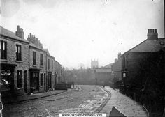 Housing on bottom of Crookes, Mulehouse Road, looking towards Sheffield with St. Thomas' church in the background