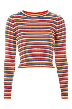 Rainbow Striped Knitted Top - T-Shirts - Clothing - Topshop USA Winter Fashion Outfits, Look Fashion, Cute Casual Outfits, New Outfits, Casual Attire, Sweater Shirt, Shirt Outfit, Chucky Shirt, Stylish Clothes