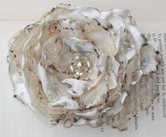 Cream Flower Accessory with tea stained tulle by OurPlaceToNest, $10.00
