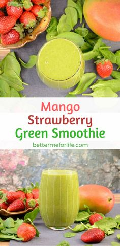 This mango strawberry green smoothie is really easy to make and is delicious! The added spinach and protein powder make it a complete meal replacement. Find the recipe on BetterMeforLife.com