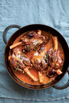 Citrus Braised Lamb Shanks: Lamb shanks meet a bright trio of winter citrus -- lemon, lime and orange -- in this dish. The rich braising liquid that results from the slow cooking almost surpasses the lamb shanks themselves. Lamb Recipes, Dinner Recipes, Cooking Recipes, Slow Cooking, Cooking Lamb, Cookbook Recipes, Seafood Recipes, Cooking Tips, Chicken Recipes