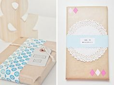 gift wrap with kraft paper more!.. and doilies, too.