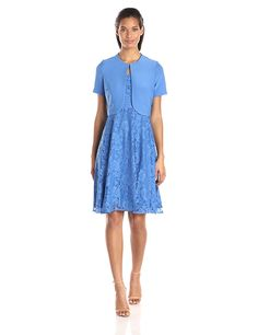 Danny and Nicole Women's Short Sleeve Jacket with Fit and Flare Lace Dress * See this great image  : summer fashion