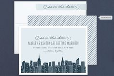 """Big City - New York City"" - Destination, Modern Save The Date Cards in Pale Blue by Hooray Creative."