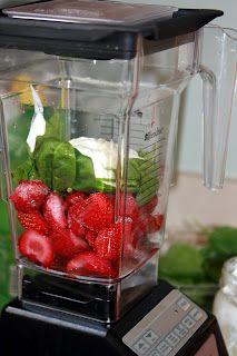 Easy strawberry smoothie with spinach. Substitute vanilla greek yogurt for regular vanilla yogurt. NOM NOM NOM