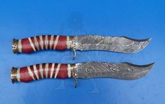 The reputation of Damascus steel for flair stretches back centuries. Knife Art, Custom Knives, Damascus Steel, Camping Knife, Hunting Knives, Red Wood, Bowie, Swords, Guns