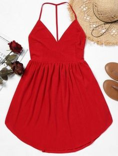 Backless Cami Mini Dress – Red S – Fashion Outfits Elegant Dresses, Cute Dresses, Casual Dresses, Dresses With Sleeves, Floral Dresses, Maxi Dresses, Party Dresses, Evening Dresses, Winter Fashion Outfits