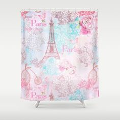 I love Paris- Vintage Shabby Chic in pink - Eiffeltower France Flowers Floral on #Society6 Shower Curtain